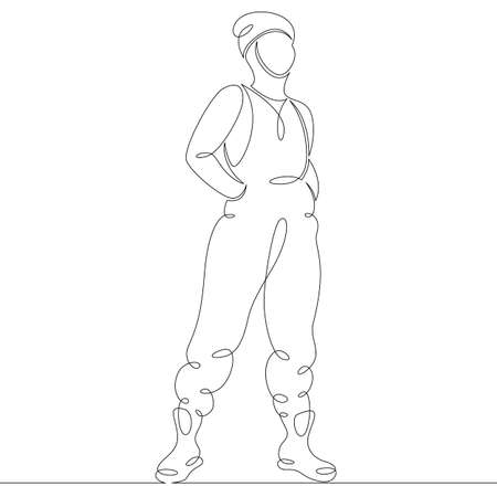 Young woman in a fashionable jumpsuit and hat. One continuous drawing line, logo single hand drawn art doodle isolated minimal illustration.