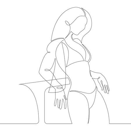 Portrait of a young woman in a bikini in a transparent cape. One continuous drawing line, logo single hand drawn art doodle isolated minimal illustration.