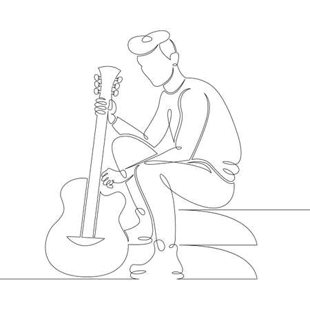 Young male musician sits on the steps with a guitar in his hands. One continuous drawing line, logo single hand drawn art doodle isolated minimal illustration.