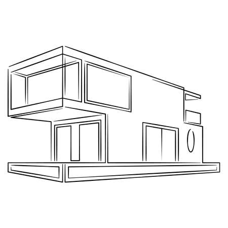 Modern fashionable designer private residential building. Minimal modern architecture concept. Country house.Continuous single line.Flat sketch line design style minimal artline ink  illustration.