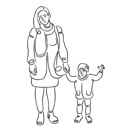 Young woman mother with small child. Concept of motherhood and childhood. Continuous single line.Flat sketch line design style minimal artline ink  illustration.