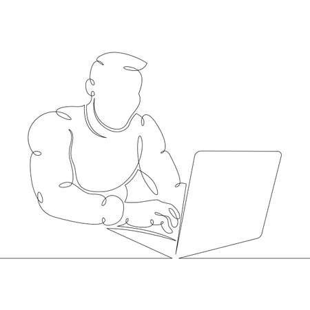 Young male designer student manager works at the laptop. One continuous drawing line,  single hand drawn art doodle isolated minimal illustration. Ilustrace