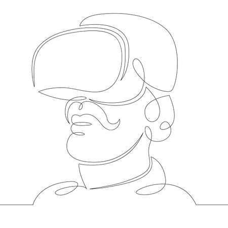 Young man the guy plays, works in virtual reality glasses. One continuous drawing line, logo single hand drawn art doodle isolated minimal illustration. Ilustrace