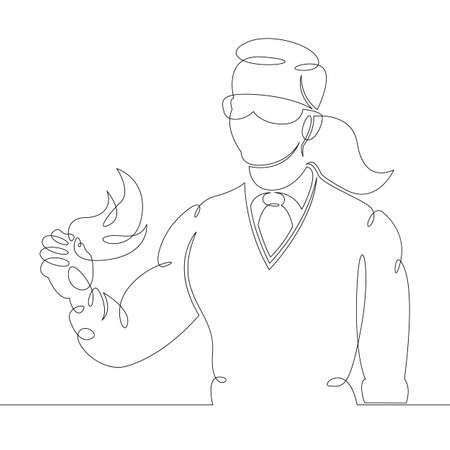 Woman scientist professor teacher in goggles holds a fiery element in his hands.One continuous drawing line, logo single hand drawn art doodle isolated minimal illustration. Ilustrace