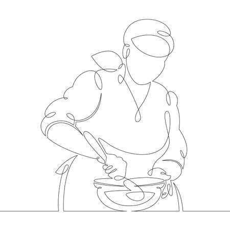 Young woman girl cook pastry chef prepares food in the kitchen. One continuous drawing line, logo single hand drawn art doodle isolated minimal illustration.
