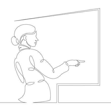 Scientist professor teacher stands writes on the student board. One continuous drawing line, logo single hand drawn art doodle isolated minimal illustration.