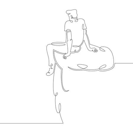 Young male tourist romantic sits on the edge of a cliff. One continuous drawing line, logo single hand drawn art doodle isolated minimal illustration.