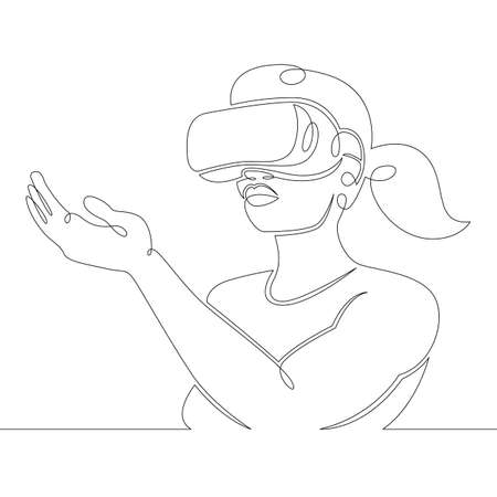 Young woman girl plays, works in virtual reality glasses. One continuous drawing line, logo single hand drawn art doodle isolated minimal illustration.