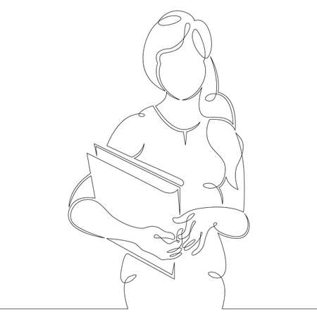 Young woman girl student with study books notebook textbooks. One continuous drawing line, logo single hand drawn art doodle isolated minimal illustration. Ilustrace