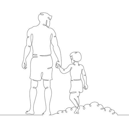 A young male father with his son walks along the beach. One continuous drawing line, logo single hand drawn art doodle isolated minimal illustration. Ilustrace