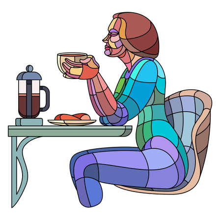 Beautiful young slender woman is drinking hot coffee at a table with dessert in a cafe. Bright colored illustration in modern flat character cartoon style. Ilustrace