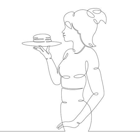 Young woman girl waiter carries a tray with sandwich hamburger food. One continuous drawing line Ilustrace