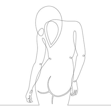 Young woman girl with long hair view from the back. One continuous drawing line