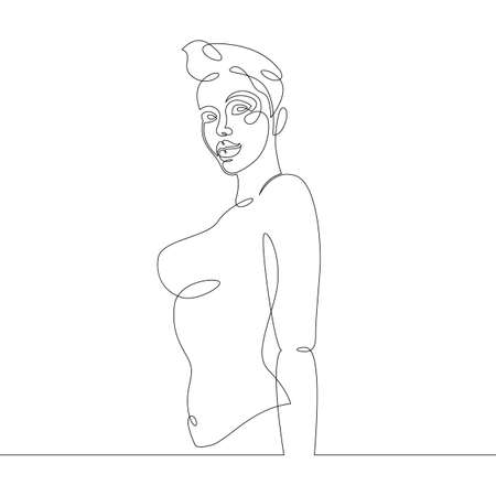 Portrait of a young woman girl with short hair in a bikini. One continuous drawing line