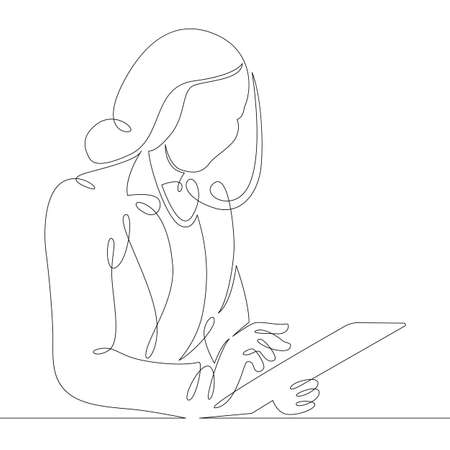 Young woman manager designer works on the Internet using a tablet. One continuous drawing line Ilustrace