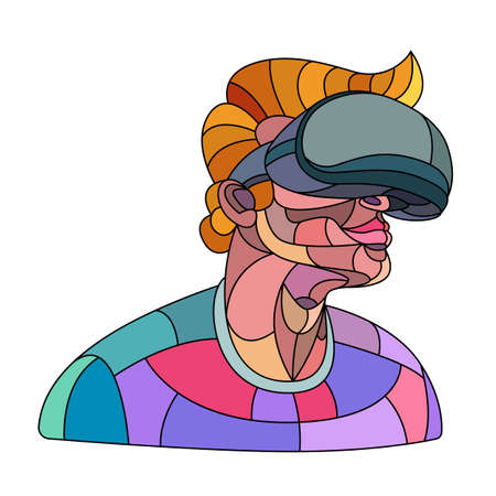 A male character plays with glasses in a virtual reality helmet. Bright colored illustration in modern flat character cartoon style. Ilustrace
