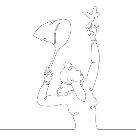 Scientist naturalist entomologist with butterfly net in hand catching butterflies. One continuous drawing line, logo single hand drawn art doodle isolated minimal illustration. Ilustração