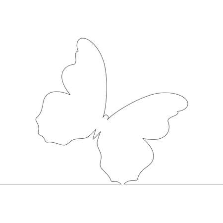 Silhouette of a wingspan of a large butterfly. One continuous drawing line, logo single hand drawn art doodle isolated minimal illustration.