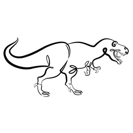 Prehistoric reptile tyrannosaurus dinosaur with open mouth. Continuous one line brush contour ink illustration isolated flat minimal drawing. Ilustração