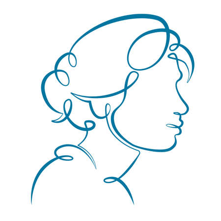 Portrait profile silhouette of a female head, young woman girl with beautiful hairstyle. One line continuous thick bold single drawn art doodle isolated hand drawn outline logo illustration.