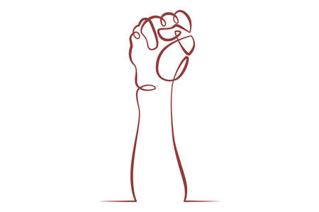 Raised hand gesture clenched fist. Social protest and demonstrations.One line continuous thick bold single drawn art doodle isolated hand drawn outline logo illustration.
