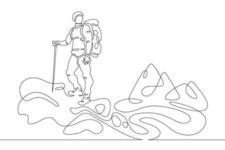 Young male tourist climber athlete with a backpack climbs the rock into the mountains. One line continuous thick bold single drawn art doodle isolated hand drawn outline logo illustration.