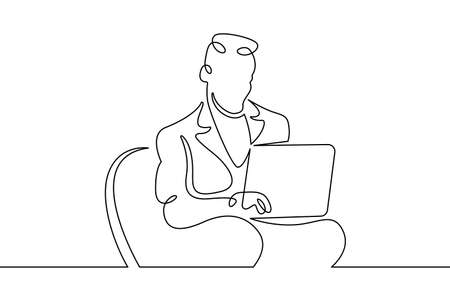 Portrait of a working man at a computer laptop. One continuous drawing line logo single hand drawn art doodle isolated minimal illustration.Designer journalist manager.