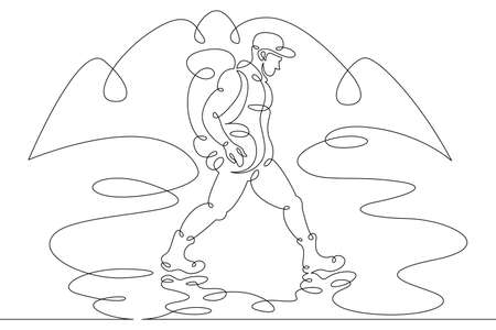 A young male tourist with a backpack ford a stream, a river. Landscape of forest and mountains. One line continuous thick bold single drawn art doodle isolated hand drawn outline logo illustration.