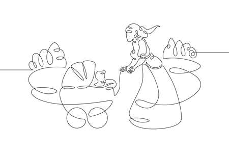 Young mother in a beautiful dress on a walk with a baby carriage in the park. One line continuous thick bold single drawn art doodle isolated hand drawn outline logo illustration.