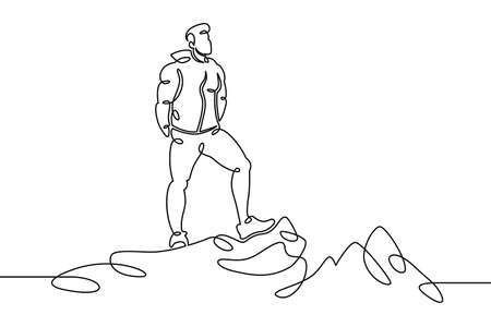 Young man tourist climber on the edge of a cliff, mountain landscape, view of the valley. One continuous drawing line, logo single hand drawn art doodle isolated minimal illustration. Illusztráció