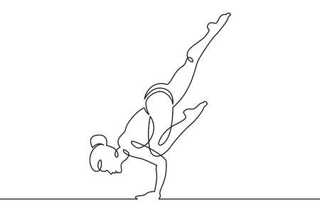 Young woman girl athlete goes in for sports yoga fitness. One continuous drawing line, logo single hand drawn art doodle isolated minimal illustration.