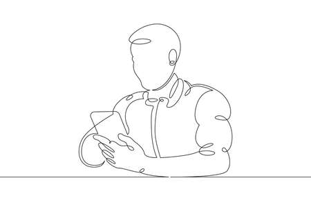 A young man sits with a phone smartphone tablet in his hands. Communication on the Internet. One continuous drawing line, logo single hand drawn art doodle isolated minimal illustration.