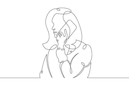 Young woman sits with a phone smartphone tablet in her hands. Communication on the Internet.One continuous drawing line, logo single hand drawn art doodle isolated minimal illustration. Illusztráció