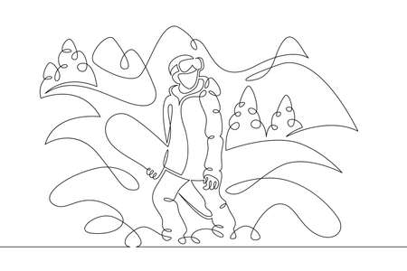 Snowboarder athlete tourist with a board stands in the snow.Winter landscape of fir forests and mountains.One line continuous thick bold single drawn art doodle isolated hand drawn outline logo illustration.