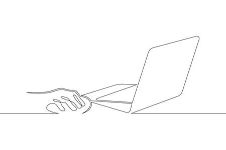 Laptop computer, human hands brush typing text on the keyboard. Working at the computer.One continuous drawing line, logo single hand drawn art doodle isolated minimal illustration. Illusztráció