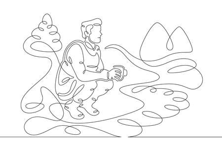 Young male tourist fisherman drinks coffee on the bank of a mountain river. Mountain landscape.One line continuous thick bold single drawn art doodle isolated hand drawn outline logo illustration. Illusztráció