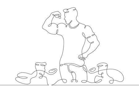 Athlete bodybuilder demonstrates his muscles in public. Weightlifting and bodybuilding.One line continuous thick bold single drawn art doodle isolated hand drawn outline logo illustration. Illusztráció