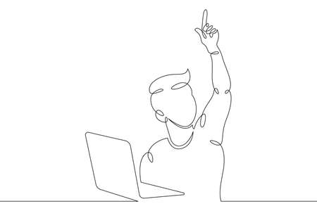A small child sits at a laptop on the Internet, plays at the computer. One continuous drawing line, logo single hand drawn art doodle isolated minimal illustration.