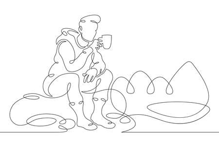Young male tourist drinks hot drink coffee tea camping campfire. Landscape of forest and mountains.One line continuous thick bold single drawn art doodle isolated hand drawn outline logo illustration. Illusztráció