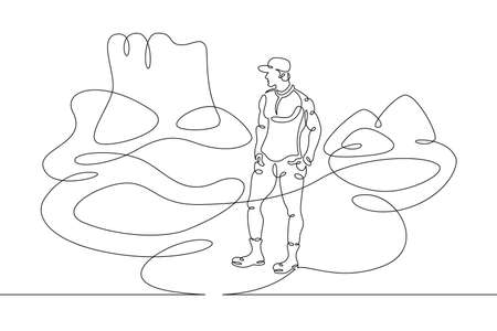 Young male tourist in a baseball cap in the desert on a background of mountains. Mountain landscape. One line continuous thick bold single drawn art doodle isolated hand drawn outline logo illustration. Illusztráció