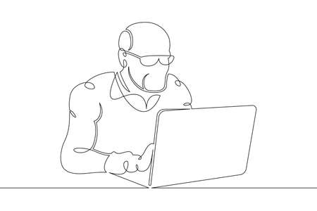 Old man old pensioner sitting working at a laptop computer on the Internet. One continuous drawing line, logo single hand drawn art doodle isolated minimal illustration.