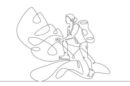 Young woman athlete tourist with a backpack climbs the mountains. One line continuous thick bold single drawn art doodle isolated hand drawn outline logo illustration.