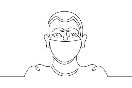Young male teenager in a protective mask. Social protest and demonstrations. One continuous drawing line, logo single hand drawn art doodle isolated minimal illustration.