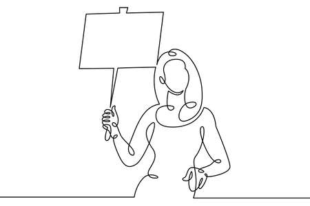 Woman girl standing with a placard holding a banner in his hands.Social protest and demonstrations. One continuous drawing line, logo single hand drawn art doodle isolated minimal illustration.