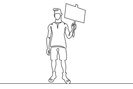 Young man in a protective mask at a rally with a poster in his hand.Social protest and demonstrations. One continuous drawing line, logo single hand drawn art doodle isolated minimal illustration. Illusztráció