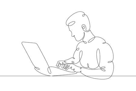Young man sits working at a laptop computer. Designer manager works on the Internet. One continuous drawing line, logo single hand drawn art doodle isolated minimal illustration. Illusztráció