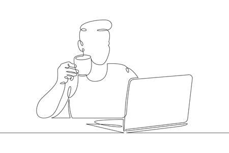 Young man sits working at a laptop computer. Designer manager works on the Internet. One continuous drawing line, logo single hand drawn art doodle isolated minimal illustration. Illustration
