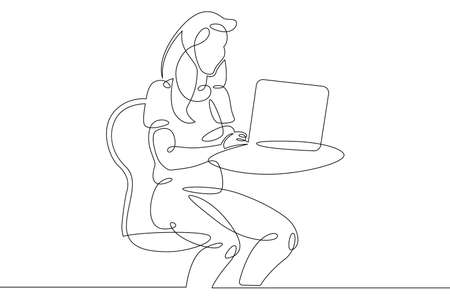 Young woman sits working at a laptop computer. The designer manager works on the Internet. One continuous drawing line, logo single hand drawn art doodle isolated minimal illustration.