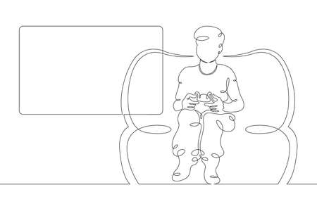Child boy plays a game console in the hands of a joystick. One continuous drawing line logo single hand drawn art doodle isolated minimal illustration. Illustration