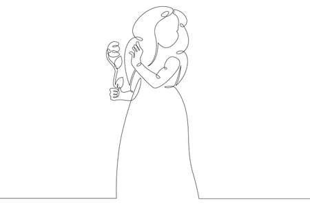 Child with a flower in her hands.Little girl in a dress.One continuous drawing line logo single hand drawn art doodle isolated minimal illustration.